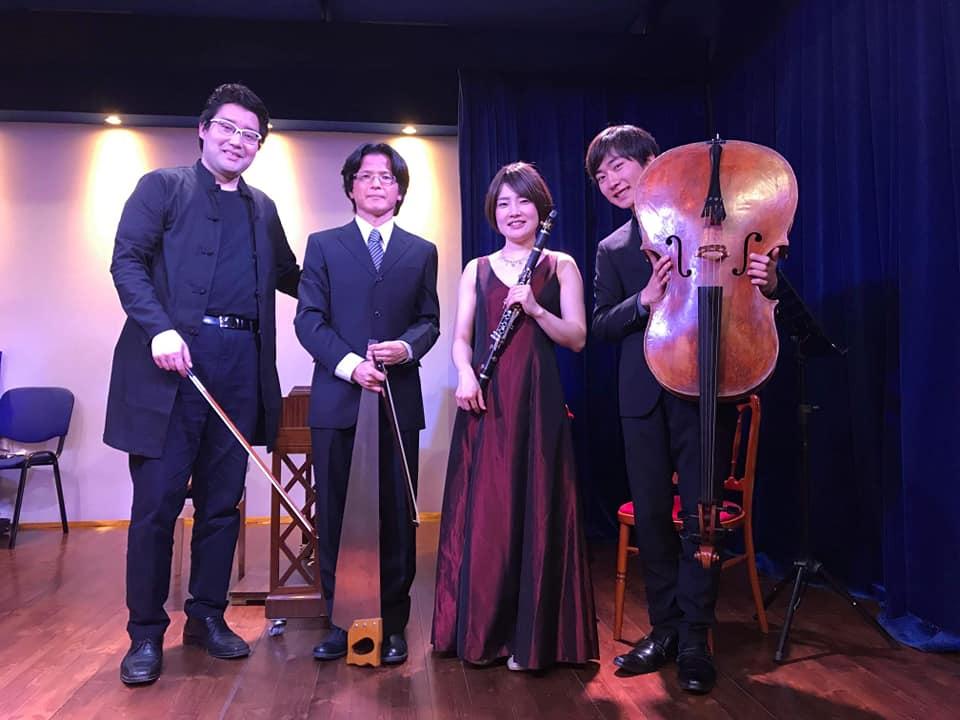 Narihito Mukeda (zongora), Shimizu Yosuke (cselló), Miyamoto Keiko (klarinét) és Okazaki Masato (fűrész).